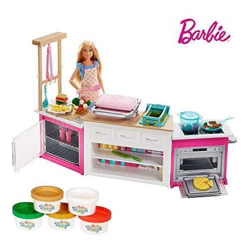 Barbie FRH73 - Cooking und Baking Deluxe Küche Spielset und Puppe, mit Zubehör und Spielknete, Mädchen Spielzeug ab 4 Jahren