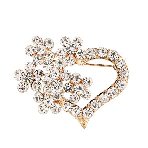 Daliuing Broche en forma de corazón con incrustaciones de circonitas, bufandas, chal con clip para mujer y niña