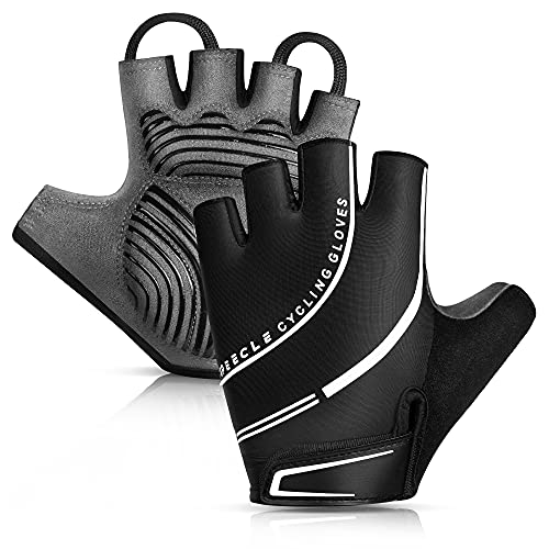 Speecle Reinforced Sports Cycling Bike Gloves - Padded Road Mountain Biking Gloves - Shock-Absorbing Breathable Half Finger Bicycle Gloves for Men Women, Large