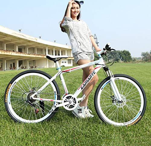 Bicicleta de montaña de 26 'y 24 velocidades Bicicleta de montaña rígida de acero con alto contenido de carbono con suspensión delantera Asiento ajustable Bicicleta todo terreno,White red,24 speed