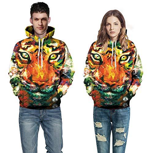 Blwz mannen vrouwen 3D kleur tijgerprint hoodies unisex pullover paar outdoor vrije tijd sweatshirts uniform lange mouwen jumper mantel met zakken jeugd S-3XL