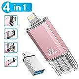 Qarfee Memoria USB 32GB 4 in 1 Chiavetta USB Flash Drive per iPhone iPad e PC Laptop, USB 3.0...