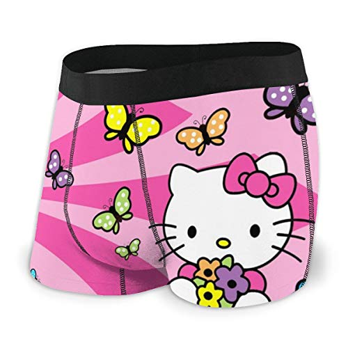Cartoon Hello Kitty Uomo Intimo Stretch Boxer Slip per gli Uomini Gamba Corta Mutande Traspirante Confortevole Fibra Pack Nero  XL