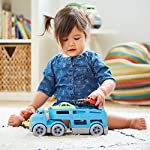 Child Playing with Green Toys Car Carrier Vehicle Set Toy, Blue