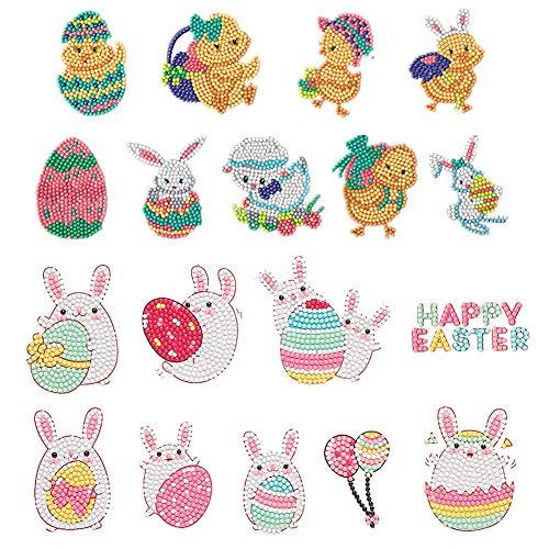 18 piezas bonitas de Pascua con tema de Pascua 5D DIY DIY Diamantes Pegatinas Kits, conejo con huevo y pollito Digital Diamond Paint Dibujos Animados Pegatinas para Niños Manualidades