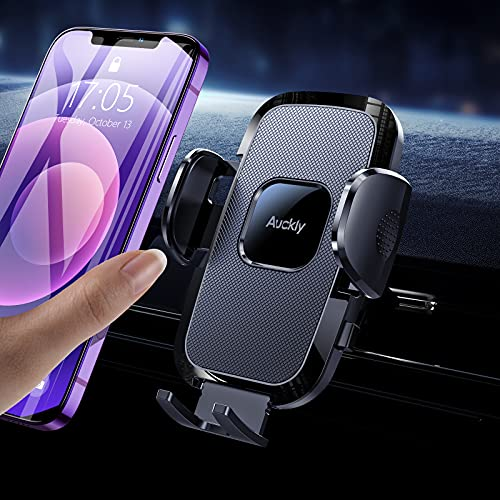 Auckly Support Telephone Voiture, [Silicone airbag] Porte Portable Voiture Support Smartphone Voiture pour Universel à Grille d'Aération pour iPhone 12 Pro Max Mini /11/X/XR/8/7/Galaxy S20/S10 Huawei