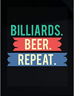 Stuch Strength LLC Funny Billiards - Beer. Repeat. - Pool Break Pockets Cue Chalk Humor - Transparent Sticker