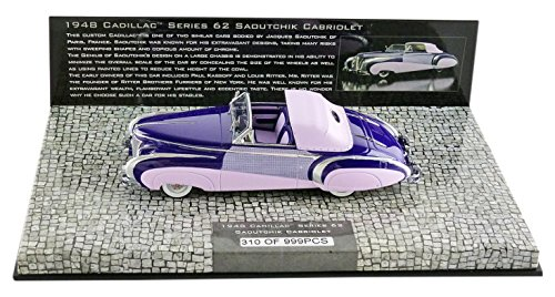 Minichamps–437148460–Cadillac Serie 62Cabrio Coach Builder- 1948–Maßstab 1/43–Violett