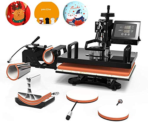 Heat Transfer Machine -SUNCOO 15x15 inches Swing-Away Digital 6 in 1 Heat Press Machine for T-Shirts Sublimation Hot Pressing Machine-Multipurpose Mug/Hat Plate/Cap Press,Combo Kit