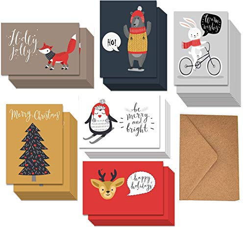 36 Bulk Pack Christmas Winter Holiday Cards, 6 Assorted Funny Woodland Animals Happy Holiday Greeting Cards with Envelopes, 4.65 x 6.25 Inches