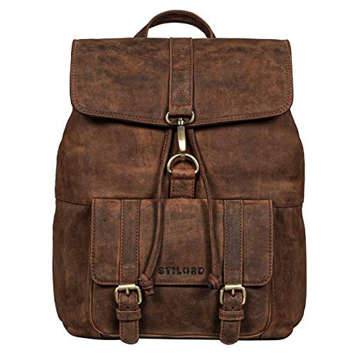 STILORD 'Kacey' Daypack Damen Leder Vintage Lederrucksack für 13.3 Zoll Laptops DIN A4 Kleiner Unirucksack Cityrucksack Elegant Damenrucksack Echtleder, Farbe:aneto - braun