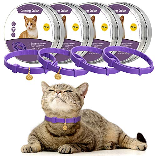 4 Pieces Calming Cats Collar Adjustable Cat Calm Collar Lavender Scent Relaxing Cat Collar with 2 Pendants for Puppies Cats Reduce Stress Aggression Anxious Behavior, up to 15 Inches (Purple, Gold)