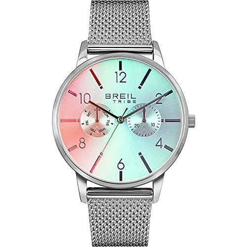 Breil - Reloj de hombre de la serie Avity Irisscent con esfera de color plateado, movimiento multifunción de cuarzo y malla de acero EW0538