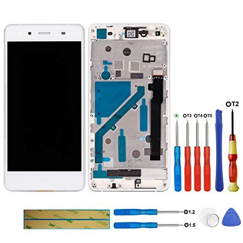 swark Pantalla LCD compatible con BQ Aquaris X5 (blanco + marco), pantalla táctil digitalizador, cristal de montaje + herramientas