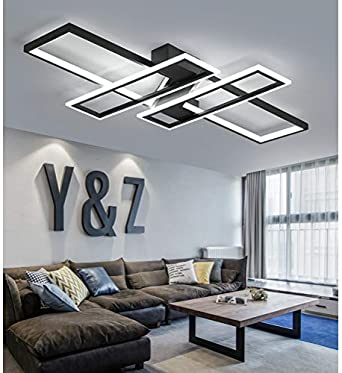 LED Deckenleuchte Wohnzimmer lampen Dimmbar Deckenlampe Hängeleuchte Modern  Platz Chic Decke Leuchen Metall Acryl mit Fernbedienung Innen Schlafzimmer