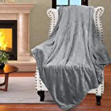 Catalonia Sherpa Throw Blanket Reversible Match Color Super Soft Comfy Fuzzy Micro Plush Fleece Snuggle Blanket All Season for TV Bed or Couch 50' x 60' Gray