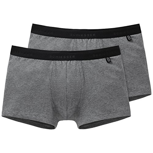 Schiesser Herren Boxershorts Shorts, 2er Pack, Gr. X-Large (7 (XL)), Grau (202-grau-mel.)
