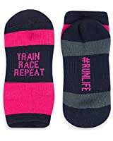 Inspirational Athletic Running Socks | Women's Woven Low Cut | Train Race Repeat | Pink/Navy