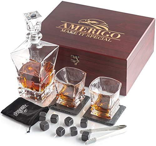 Amerigo Luxury Whiskey Stones Gift Set Whiskey Decanter Set 2 Whiskey Glasses 8 Reusable Ice product image