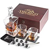 Amerigo Luxury Whiskey Stones Gift Set - Whiskey Decanter Set + 2 Whiskey Glasses + 8 Reusable Ice Cubes & 2 Slate Coasters - Whisky Gifts for Men - Fathers Day Gift - Whiskey Rocks + Ice Tongs