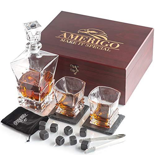 Amerigo Deluxe Whisky Steine Geschenkset mit Whisky Karaffe - Sei Anders bei der Geschenkauswahl - Handgemachte Holzkiste mit 2 Whisky Gläser + 2 Untersetzer - 8 Granit Kühlsteine - Männer Geschenke
