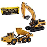 Gemini&Genius 1/50 Scale Heavy Metal Diecast Dump Truck Excavator Engineering Vehicle Construction Toys for Kids and Decoration House (Truck & Excavator Gift Box)