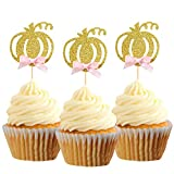 Pumpkin Cupcake Topper Fall Theme Cake Decoration for Pumpkin Themed Baby Shower Party Sup...