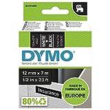 DYMO D1-Etikettenband Authentisch | weißer Druck auf schwarzem Untergr& | 12mm x 7m | selbstklebendes Schriftband | für LabelManager-Beschriftungsgerät