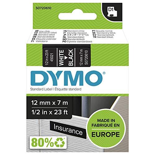 DYMO D1-Etikettenband Authentisch | weißer Druck auf schwarzem Untergrund | 12mm x 7m | selbstklebendes Schriftband | für LabelManager-Beschriftungsgerät