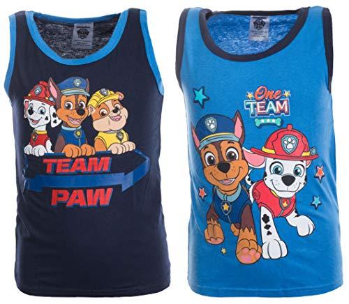 Brandsseller Jungen Unterhemden Shirts mit Motiven im Stil von Paw Patrol (122/128-2er Set, Blau/Navy)