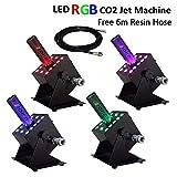 4 Pcs/lot AZALMU 250W LED CO2 Jet Machine DMX 512 Control Fog Smoke Stage Special Effects with Colorful 12x3W LED Lighting 6m Hose