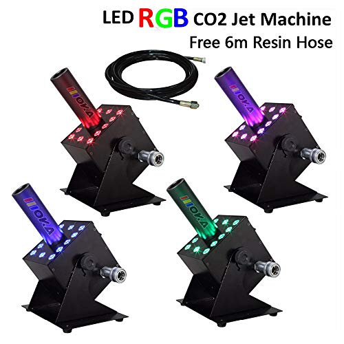 4 Pcs/lot AZALMU 250W LED CO2 Jet Machine DMX 512 Control Fog Smoke Stage Special Effects with Colorful 12x3W LED Lighting 6m Hose
