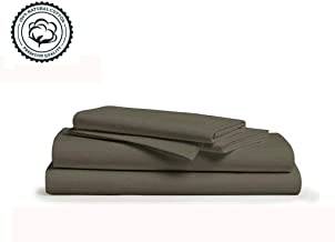 Linenwalas 800 Thread-Count 100% Pure Cotton Bed Sheets On Amazon 4Pc King Size Elephant Grey Color Sheet Set-Long Staple Combed Cotton Yarns,Best Luxury Sateen Weave,Fits Matress Upto 16