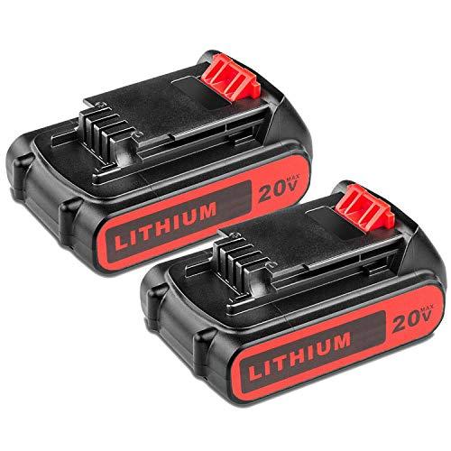 2Pack 3.0Ah 20V LBXR20 Battery for Black & Decker,Lithium Battery for B&D LBXR20-OPE LB20 LBX20 LBX4020 LB2X4020-OPE