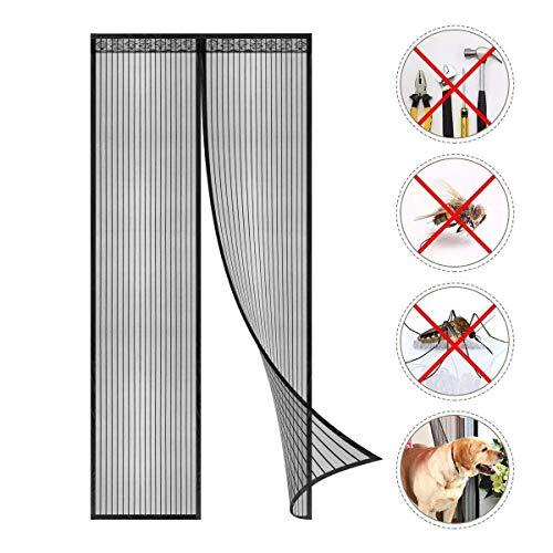Coedou Magnet Fliegengitter Tür Insektenschutz 90x210cm, Der Magnetvorhang ist Ideal für die Balkontür, Kellertür und Terrassentür, Kinderleichte Klebemontage Ohne Bohren(Nicht Kürzbar), New Schwarz