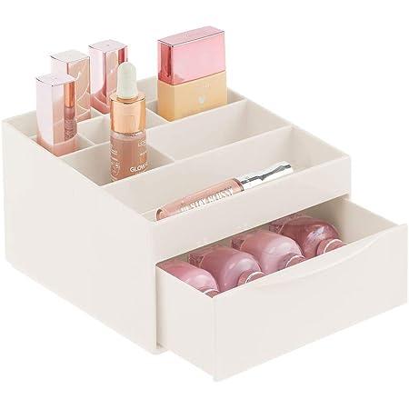 mDesign Caja organizadora para el Cuarto de baño o el tocador – Organizador de cosméticos Hecho de plástico – Caja de Maquillaje con 11 Compartimentos y un cajón – Beige