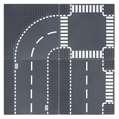 Celawork Bauplatten für Straßen, Städte, Straßenplatten,Kompatibel mit Allen gängigen Marken, 25.5*25.5cm Platten-Set für Kreatives Spielen, Lernspielzeug (4 Stück(Gerade,T-Kreuzung,Kurve+Kreuzung))