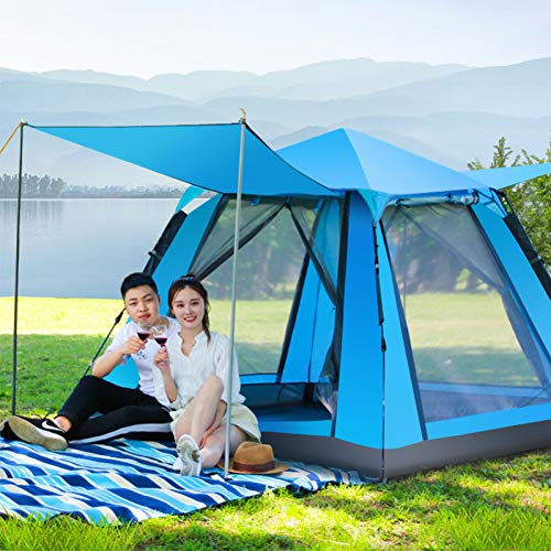 ZHJLOP tent 3-5 Person Mongolian Yurt Tent Double Layer Waterproof Folding Camping Fishing Tent Mosquito Net Family Travel Four-season Tent