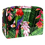 Hello Spring Parrot Jungle Print Cosmetic Bag Travel Makeup Bags Waterproof Toiletry Bag with Zipper for Women