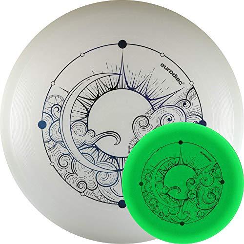 Eurodisc Nightglow Organic Ultimate Frisbee Disc Moon Luna, fosforescente, si illumina al buio (BLAU)