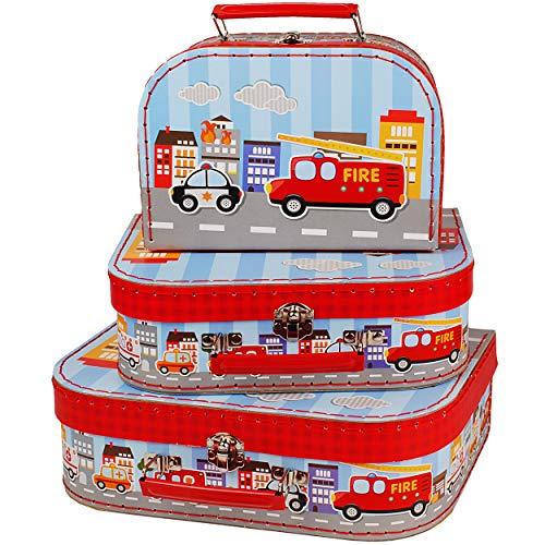 alles-meine.de GmbH Kinderkoffer / Koffer - MITTEL _ Auto - Feuerwehr / Polizei & Fahrzeuge _ ideal für Spielzeug und als Geldgeschenk - Mädchen & Jungen - Kinder & Erwachsene -..