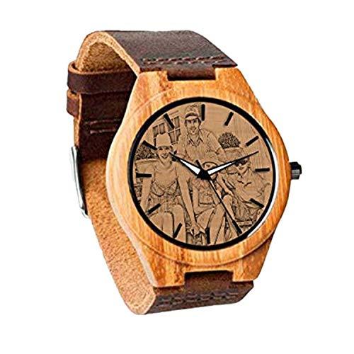 Reloj de Madera Personalizado con Foto o Mensaje Grabado de Doble Cara para Regalo(marrón 1.42in (36 mm) -Mujeres)