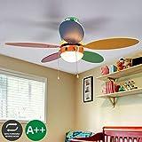 Ventilador de techo con lámpara 'Corinna' en Varios colores hecho de Madera e.o. para Cuarto de los niños (1 llama, E14, A++) de Lindby | Ventilador