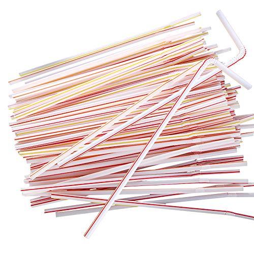 Kitchenware Einweg-Plastikstrohhalme × 1000, Flexible Milchteestrohhalme für Saftgetränke, Super langes farbiges Ellbogenstroh Kann für Party, Party, Feierbedarf verwendet Werden