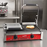 (Ship from USA) Double Grooved Commercial Panini Sandwich Grill - 120V, 3500W