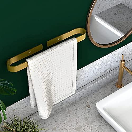 Homease Toallero de baño, sin taladrar, con regla de toalla, autoadhesivo, de aluminio, para cocina, cuarto de baño, balcón, inoxidable, 40 cm, color dorado