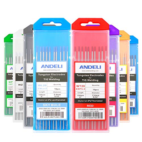 """ANDELI Varilla de soldadura de electrodos de tungsteno 1.6 2.0 2.4 3.2mm WT20 WC20 WL20 WL15 WZ8 WP WY20 WR20 para máquina de soldadura Tig (WY20 2% Yttrium, 1/16""""x 6"""" (1.6 x 150mm), azul)"""