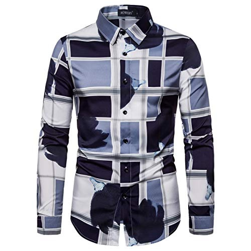 Camicia da Uomo con Stampa a Blocchi di Colore Scozzese Moda Slim Fit Stretch Streetwear Risvolto Camicia Casual a Maniche Lunghe Top S