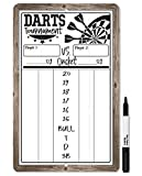 Dart Scoreboard (White) Dry Erase for Keeping Score in Games Cricket, 301 or 501-Includes Magnetic Marker with Eraser on Board-Sign is Safe for Use Indoors or Outdoors Darts Scoring-Makes a Great Gift