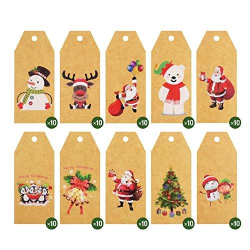 Voqeen Étiquettes De Cadeaux De Noël 100pcs Carte Kraft Étiquette Mignon Étiquettes En Papier Kraft De Noël Avec De Ficelle étiquette De Prix 10 Styles De Motifs Imprimés De Noël étiquettes Marron (B)